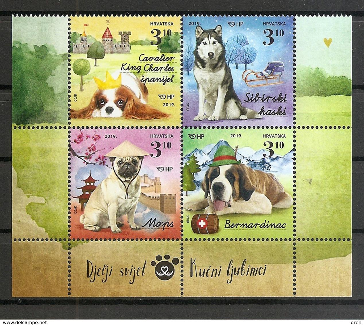 CROATIA 2019,FAUNA ,DOGS,CHILDREN STAMPS,,MNH - Chiens