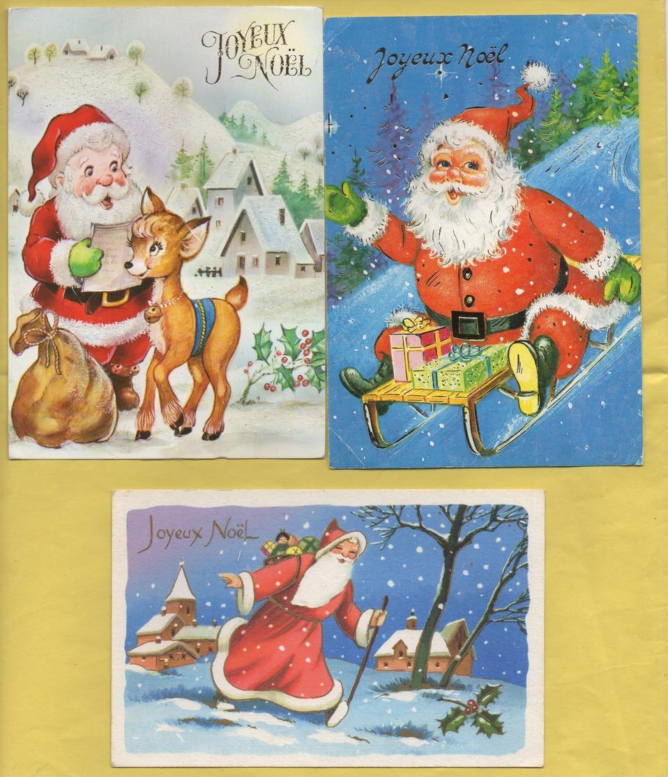 2389 * Lot De 3 Cartes * NOEL * Père Noel * Voyagées En 1988 * Biche, Sac, Cadeaux, Paysages (recto-verso) - Christmas