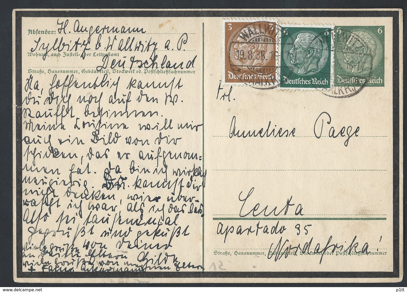 44de.Postkarte (Hindenburg). Post 1935. Wallwitz (Deutschland) Nordafrika?. Deutsches Reich - Germany