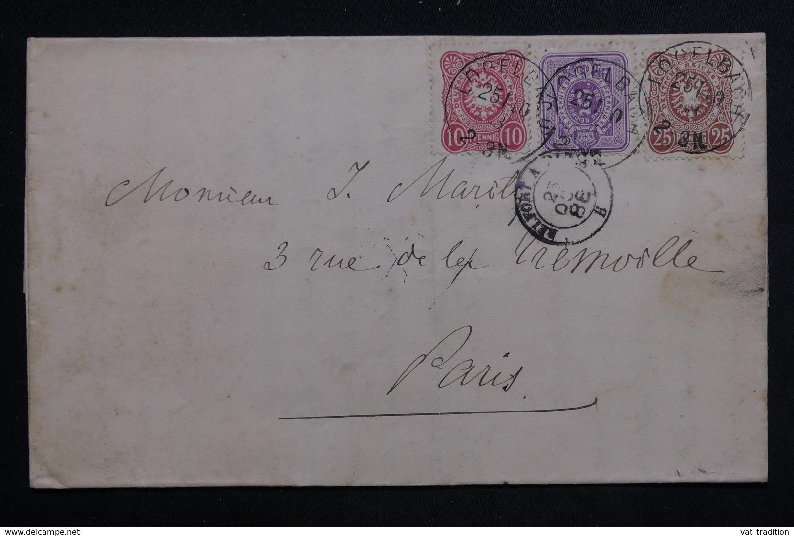 ALLEMAGNE - Lettre De Logelbach Pour Paris En 1888 , Affranchissement Plaisant - L 23440 - Germany