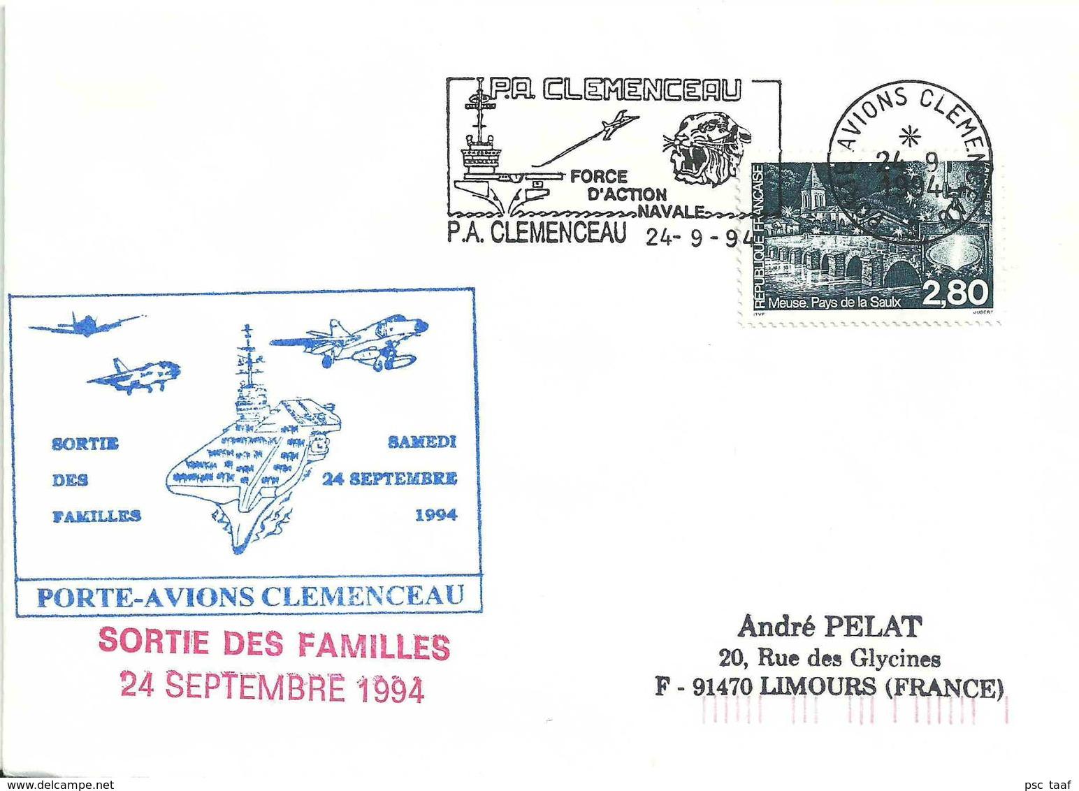 Secap Du Porte-avions Clemenceau - Tête De Tigre - Sortie Des Familles - Postmark Collection (Covers)