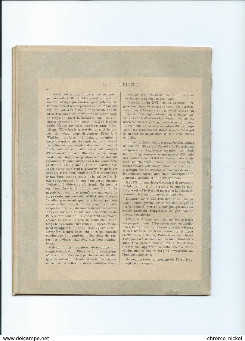 Tour EIFFEL L'ÉLECTRICITE Cahier Complet De 1891! Excellent état  Protège-cahier Couverture 225 X 175 Mm 4 Scans - Protège-cahiers