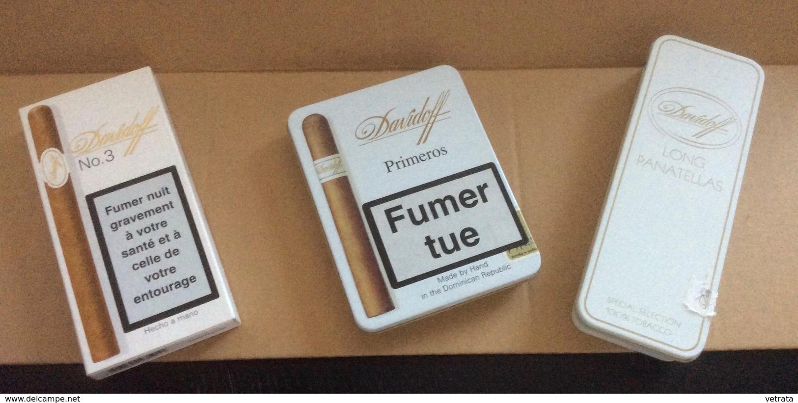 Lot De 4 Boites (vides)  Davidoff : Primeros & Long Panatellas (fer) - Mini Cigarillos (Bois) & N°3 (Carton) - Boites à Tabac Vides