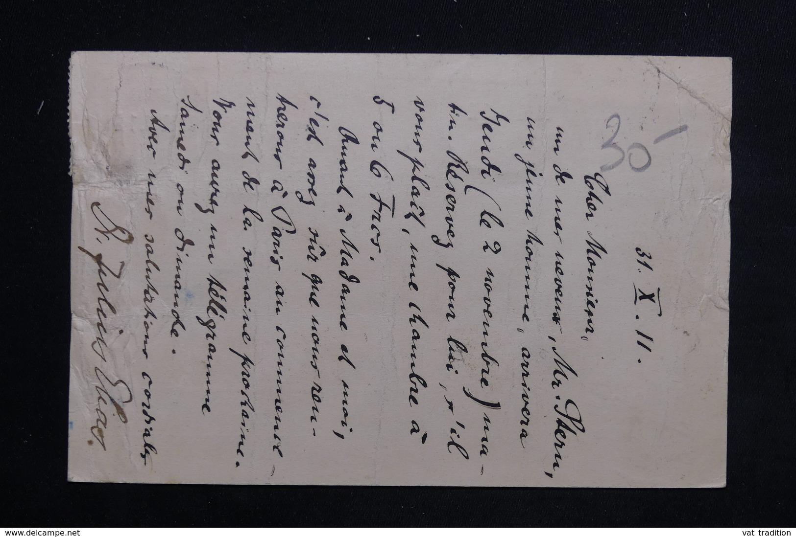 ALLEMAGNE - Carte Postale De Correspondance En Exprès Pour Hôtel à Paris En 1911 - L 23462 - Germany