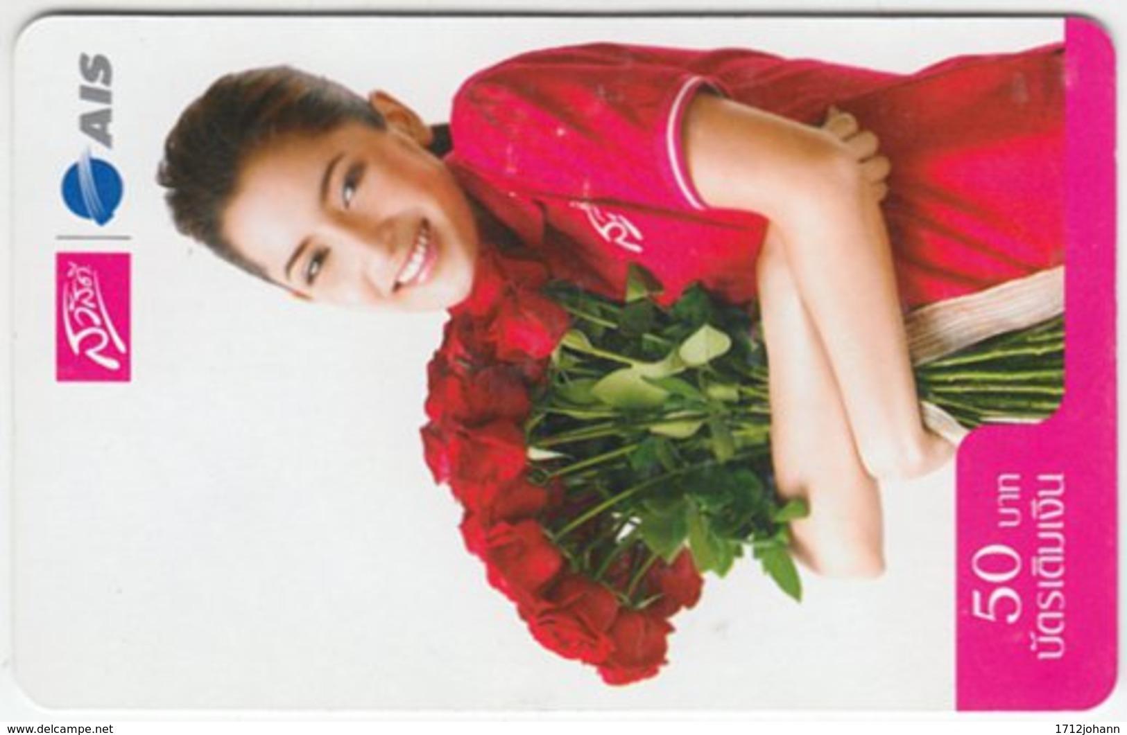 THAILAND C-832 Prepaid 1-2-call/AIS - People, Woman, Plant, Flower, Rose - Used - Thaïland