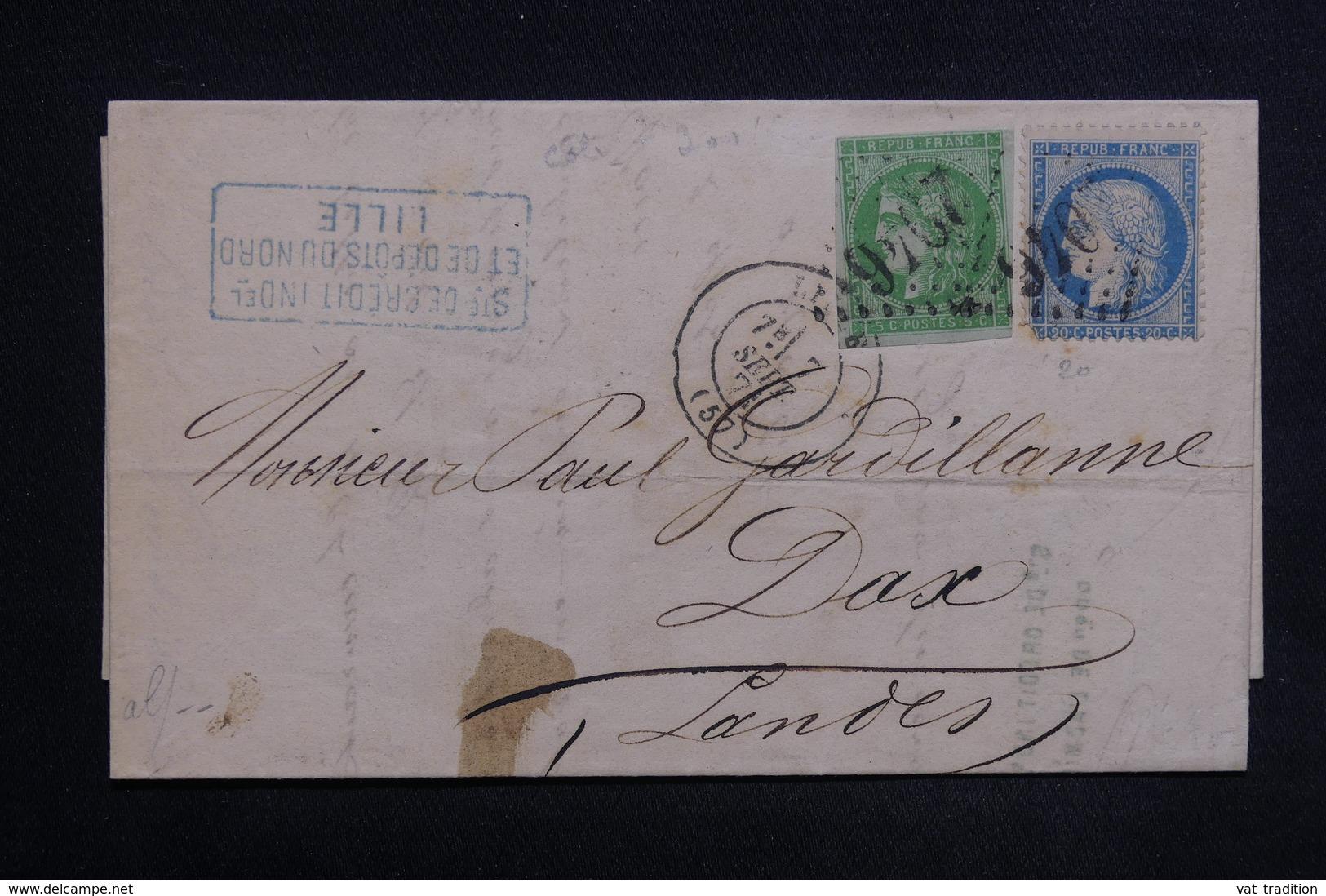 FRANCE - Affranchissement De Septembre 1871 De Lille Sur Lettre Pour Dax , Affranchissement Bordeaux / Cérès - L 23486 - 1849-1876: Classic Period