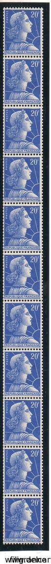 20 FR. BLEU MARIANNE DE MULLER EN BANDE DE 11** SANS PLI NI ROUILLE - Roulettes