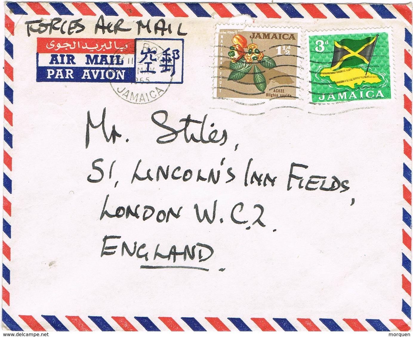 31939. Carta Aerea CROSS ROADS (Jamaica) 1965. Forces Air Mail, CARRIER AIR WING - Jamaica (1962-...)
