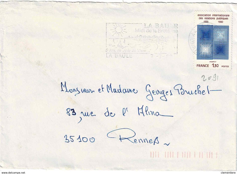 TP N° 2091 Seul Sur Enveloppe De La Baule - Postmark Collection (Covers)