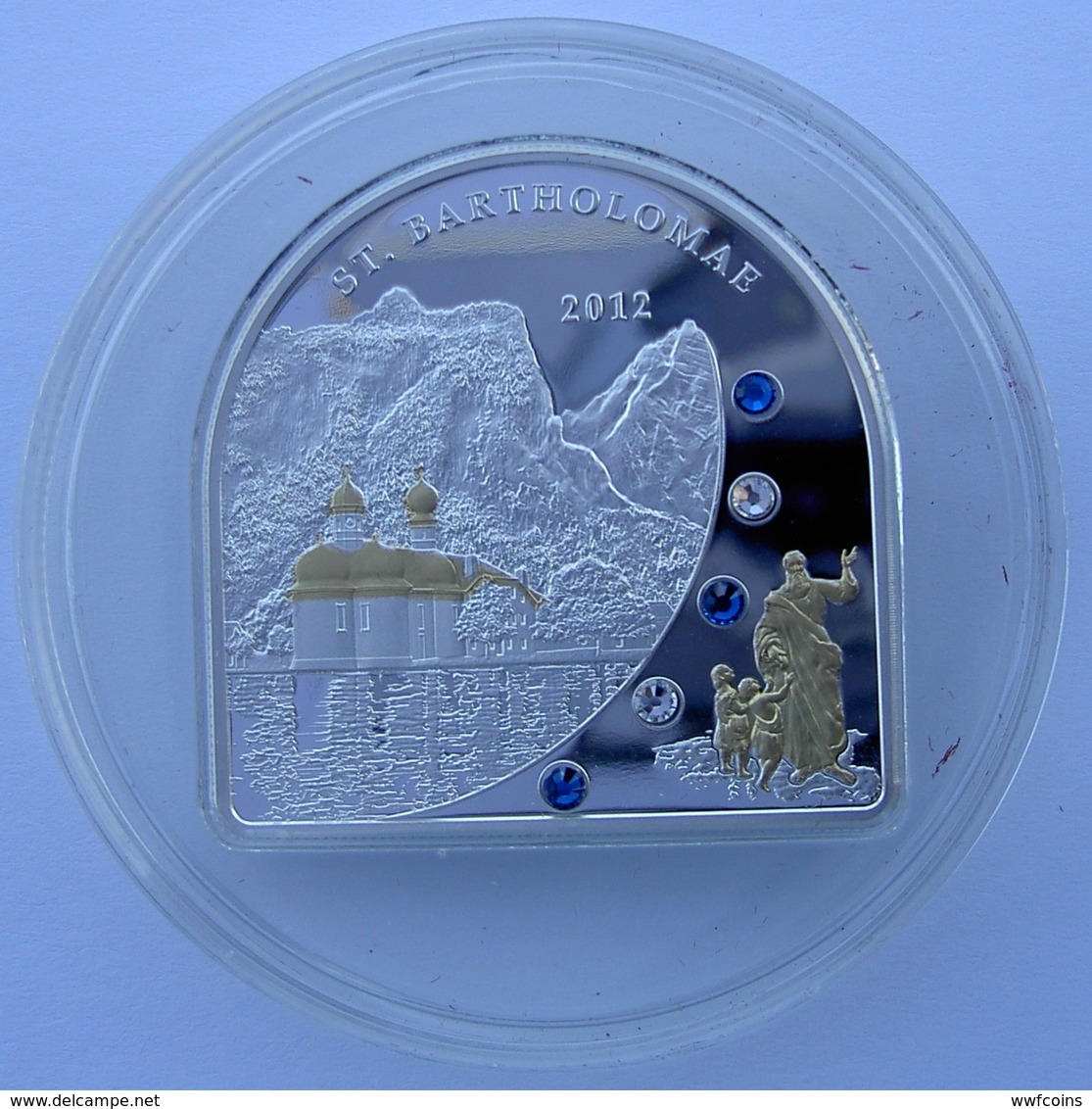 COOK ISLANDS 5 $ 2012 ARGENTO PROOF 999 SILVER+GOLD+SWAROVSKI SAINT BARTHOLOMAE PESO 25g. TITOLO 0,999 CONSERVAZIONE FON - Cook