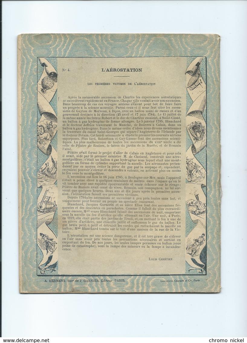 AEROSTATION BALLON 1900 Les Moyens De Locomotion Mort De Mme Blanchard Couverture Protège-cahier 225 X 175 Mm 3 Scans - Protège-cahiers