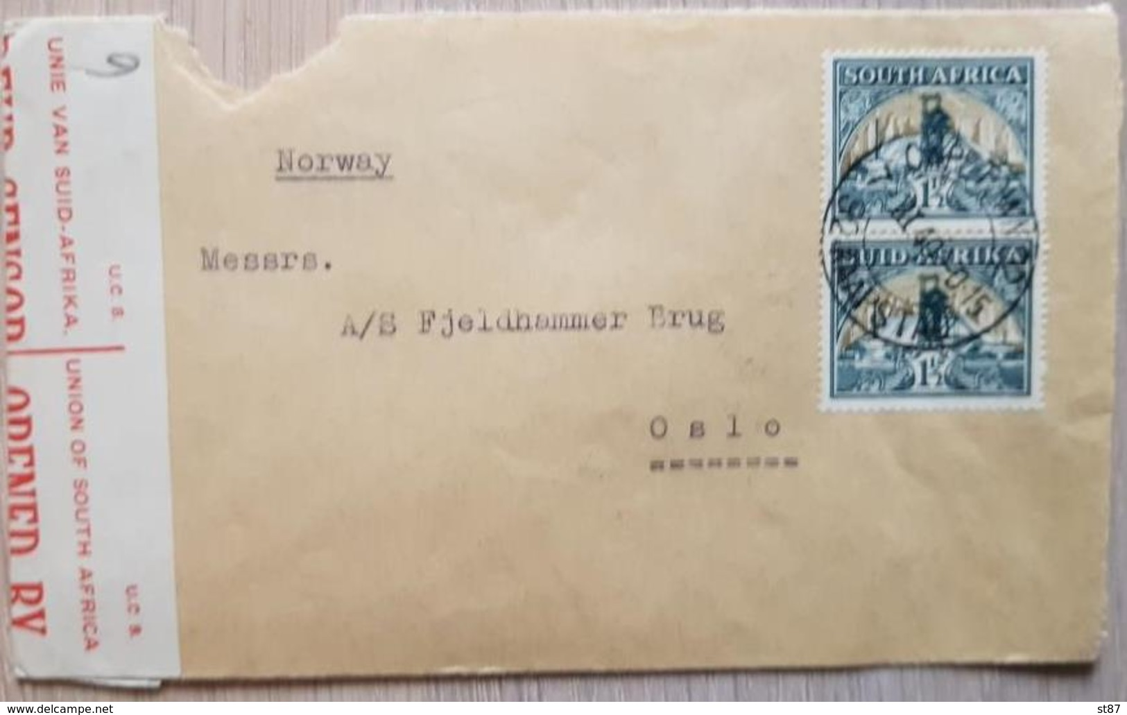 South Africa 1940 Censored Norway Oslo - Unclassified
