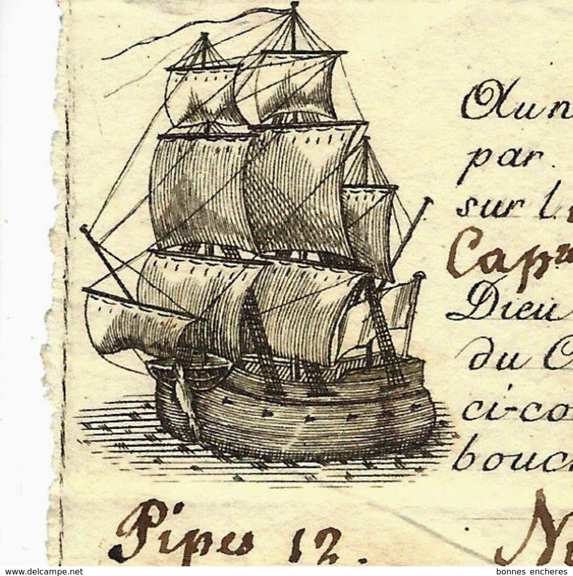 1791  SUPERBE VIGNETTE IMPRIMEE   CONNAISSEMENT BILL OF LADING PORT MAURICE Porto Maurizio (Italie) => AGDE VOIR SCANS - Italie