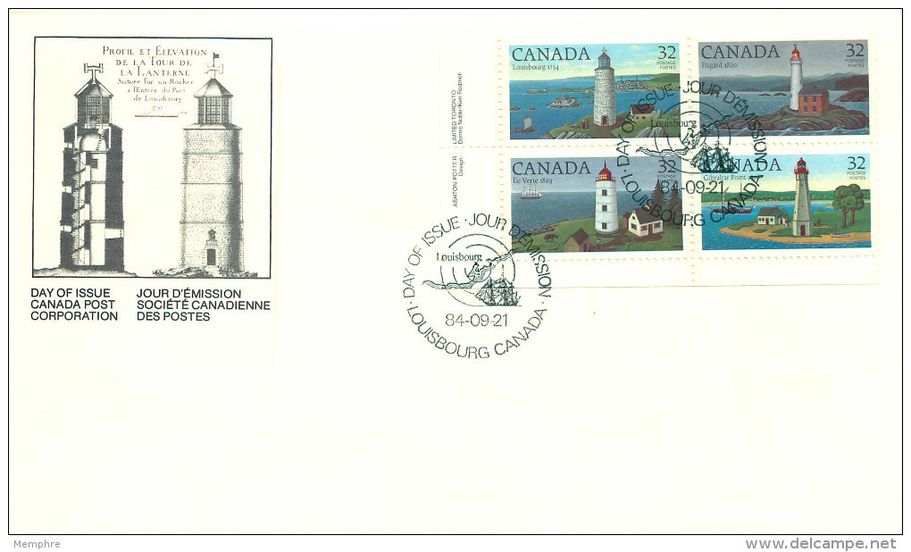 1984  Lighthouses Sc 1032-5    Plate Block  Of 4 Different - Premiers Jours (FDC)