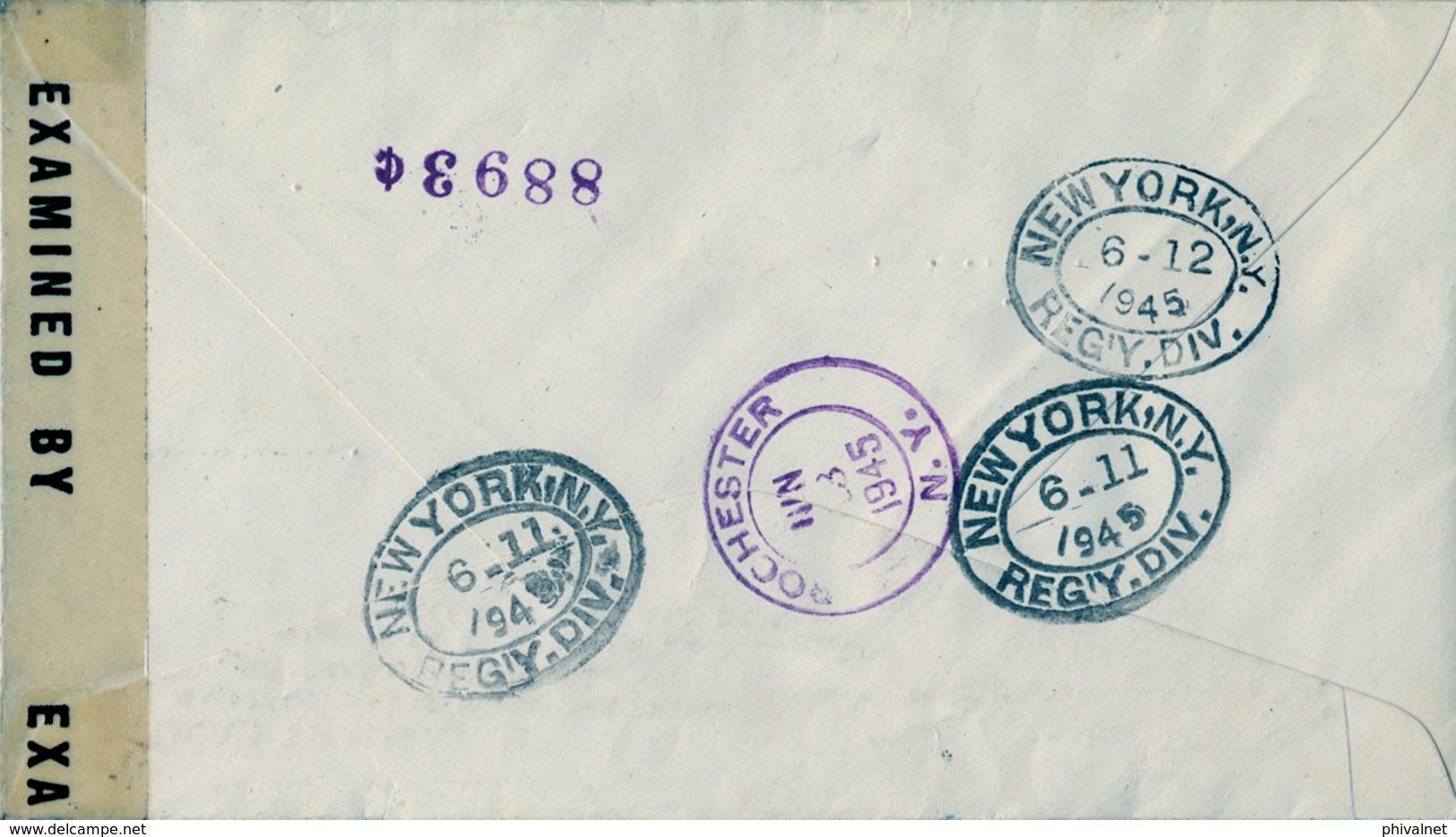 1945 , REPÚBLICA DOMINICANA , CERTIFICADO CIUDAD TRUJILLO - ROCHESTER , CENSURA , TRÁNSITO NEW YORK , LLEGADA - Dominican Republic
