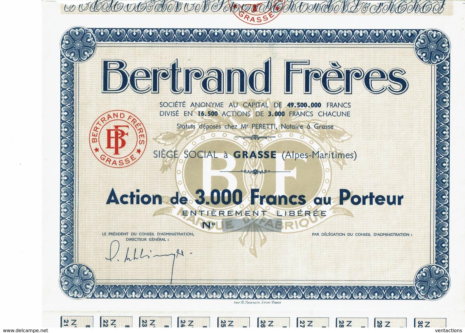 06-BERTRAND FRERES. PARFUMS. GRASSE. Capital De 49,5 MF - Altri