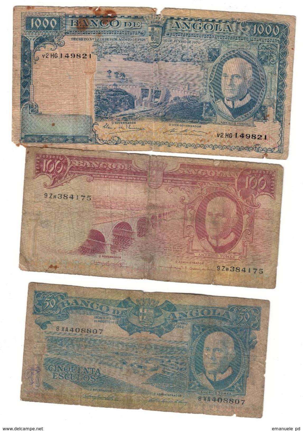Angola Lot 3 Old Banknotes *V* - Angola