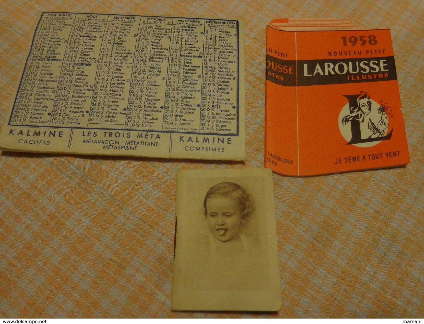 Lot De Petits Calendriers Publicite 1954-1950-1958-larousse-le Fouille Rochefort-laboratoire Paul Metadier - Calendriers