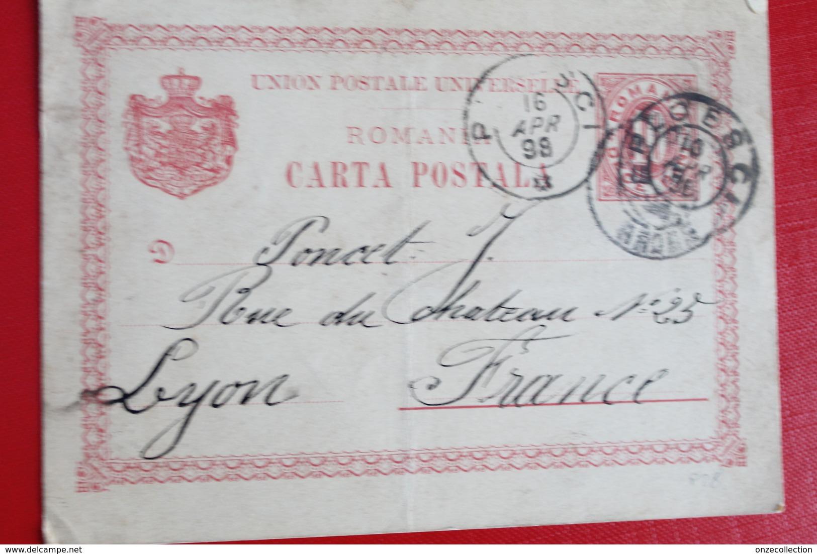1898     ENTIER  CARTE   POSTALE  DE  10  BANI  ROUGE      PARTIE  DE  PLOESCI  POUR  LYON  FRANCE - 1881-1918: Charles I