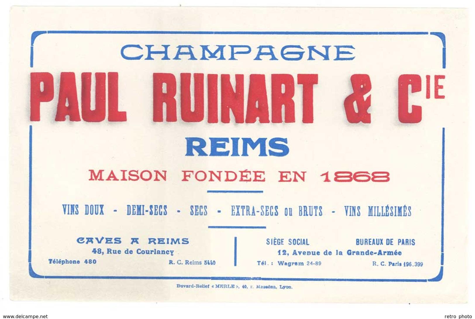 Buvard Champagne Paul Ruinart & Cie , Reims - C