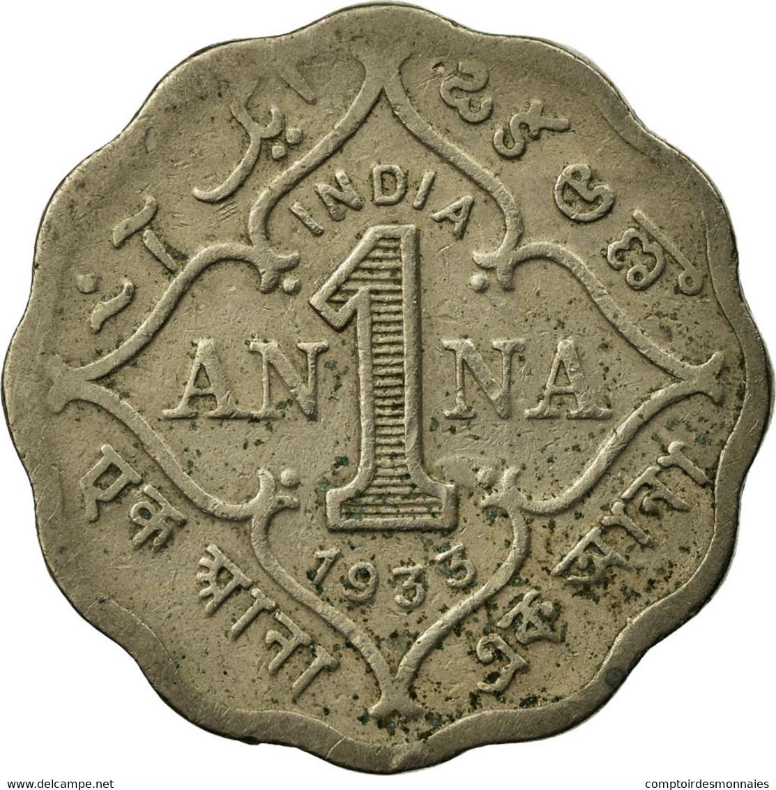 Monnaie, INDIA-BRITISH, George V, Anna, 1933, TTB, Copper-nickel, KM:513 - Inde
