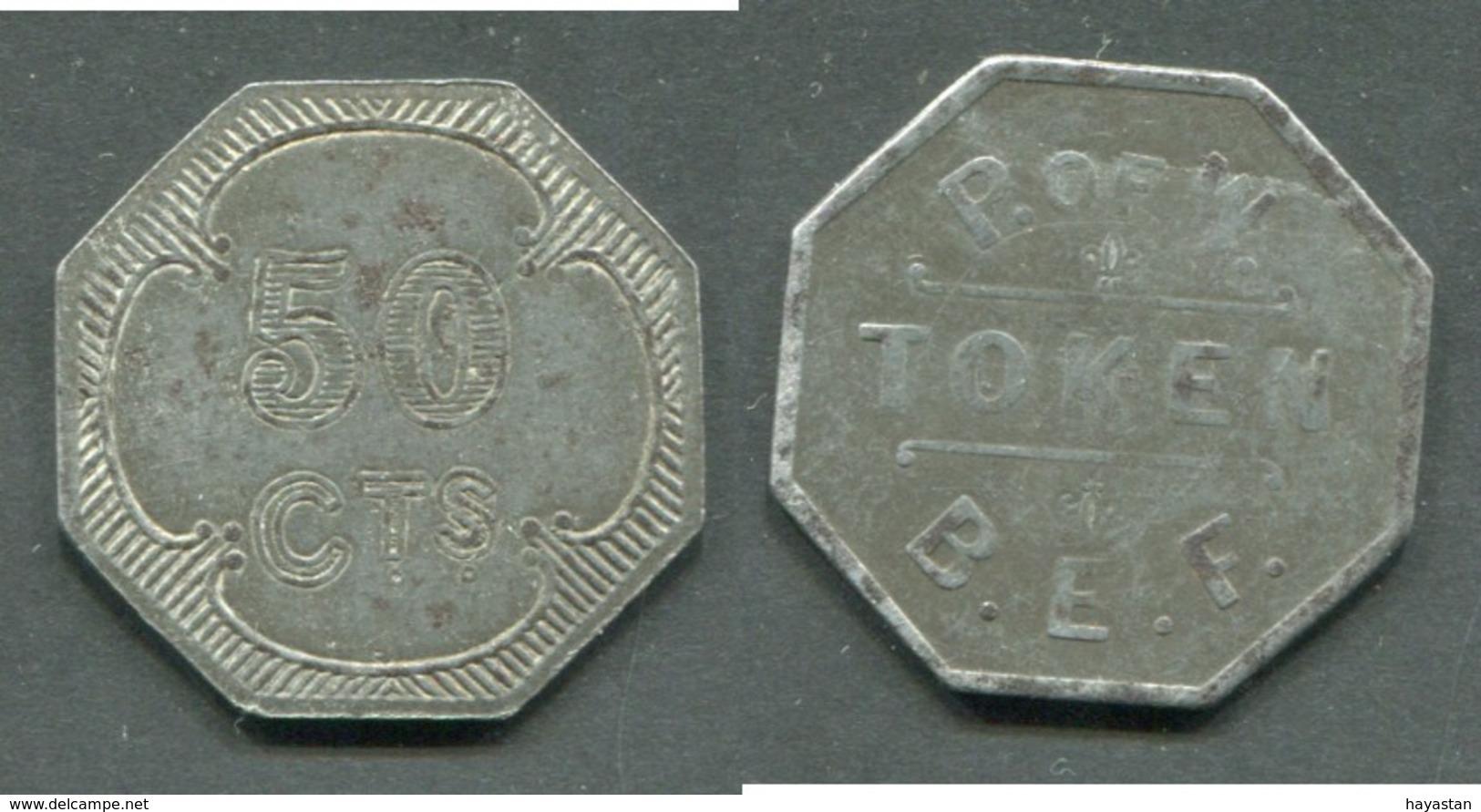 TOKEN Des Prisonniers Militaires 1914-18 - Forces Alliées Token B.E.F. (British Expeditionary Forces) 50 Cts Fer - Monétaires / De Nécessité