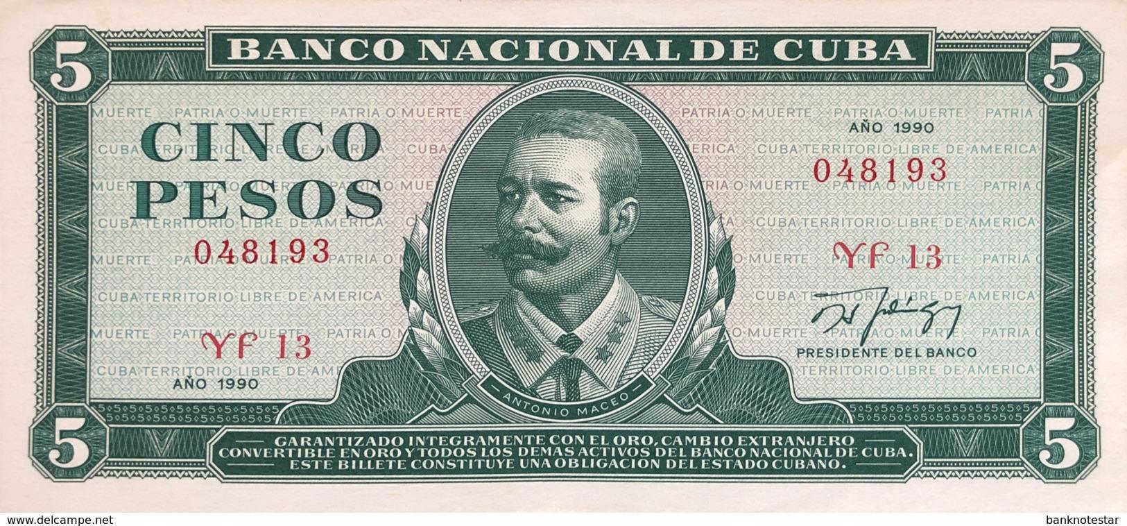 Cuba 5 Pesos, P-103d (1990) - UNC - Cuba