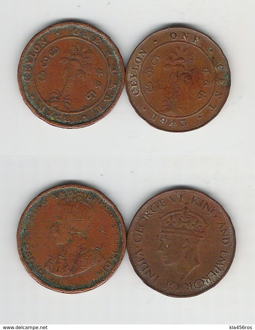 Sri Lanka  Ceylon 1 Cent 1928, 1943 - Sri Lanka