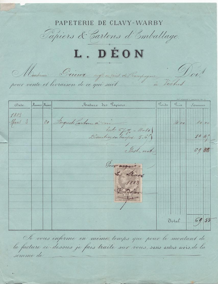 08 Papeterie De Clavy-Warby L DEON .Facture De 1883 Complète Avec Timbre Fiscal. Tb état. - 1800 – 1899