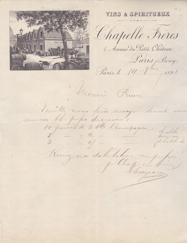75 Paris - Vins & Spiritueux Chapelle Frères.Lettre Avec  Belle Illustration De 1891. Tb état. - France