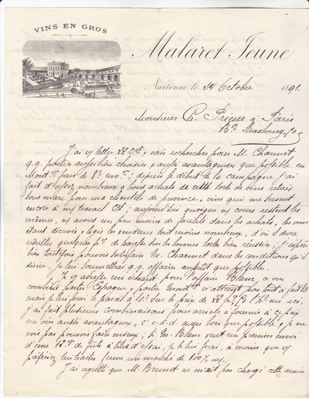09 Narbonne - Lettre Illustrée De 1891 Vins En Gros Malaret Jeune. Tb état. - 1800 – 1899