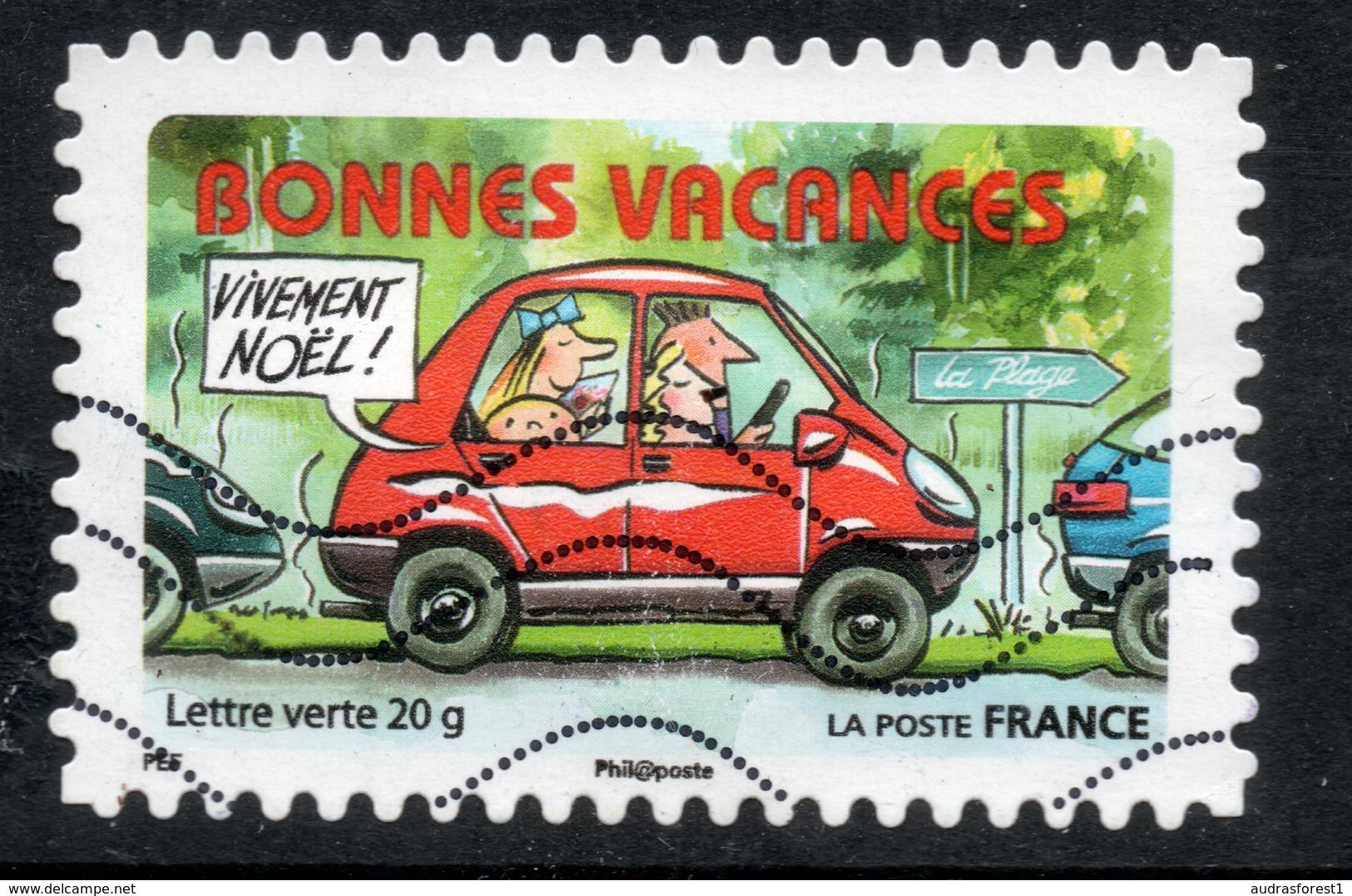 2015 BONNES VACANCES: Valeur Faciale 0,68 € Timbre Oblitéré De FRANCE, La Route Des Vacances, AUTO ROUGE - France