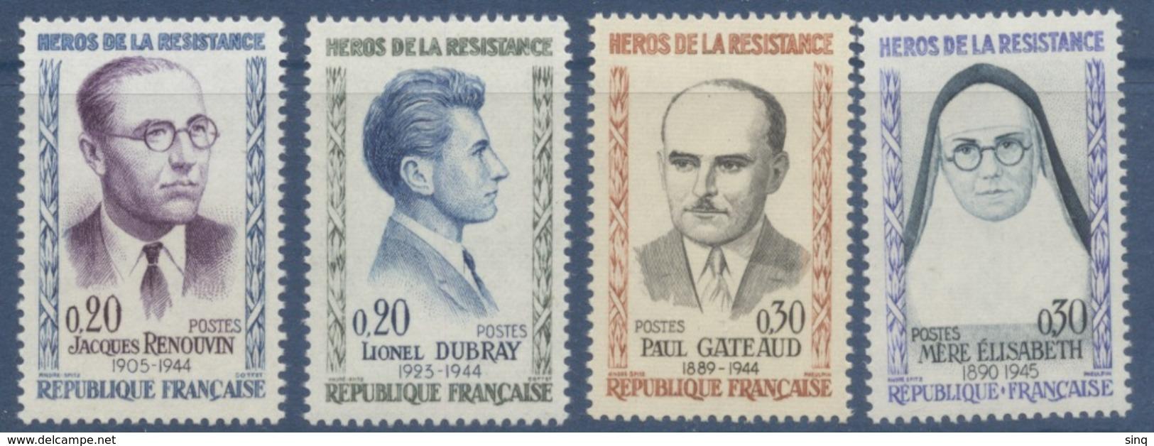 N° 1288 à 1291 Héros De La Résistance 5e Série - France