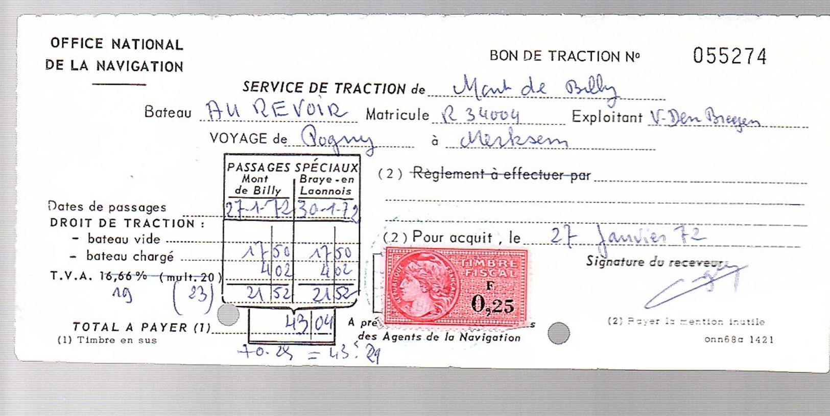 Navigation Mont De Billy Pogny > Merksem (Fis-L-1) - Revenue Stamps