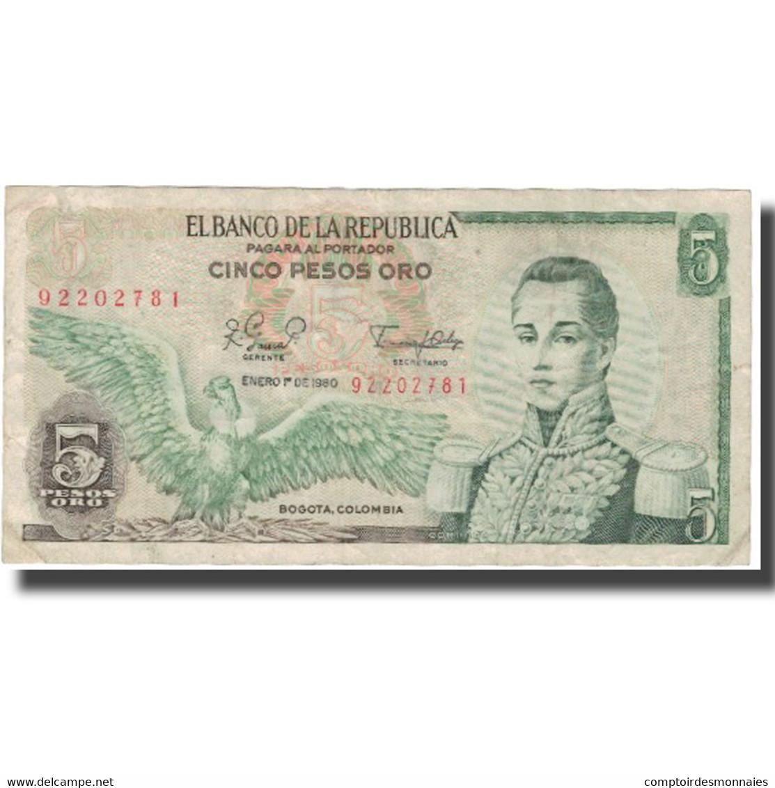 Billet, Colombie, 5 Pesos Oro, 1980, 1980-01-01, KM:406f, TTB - Colombie