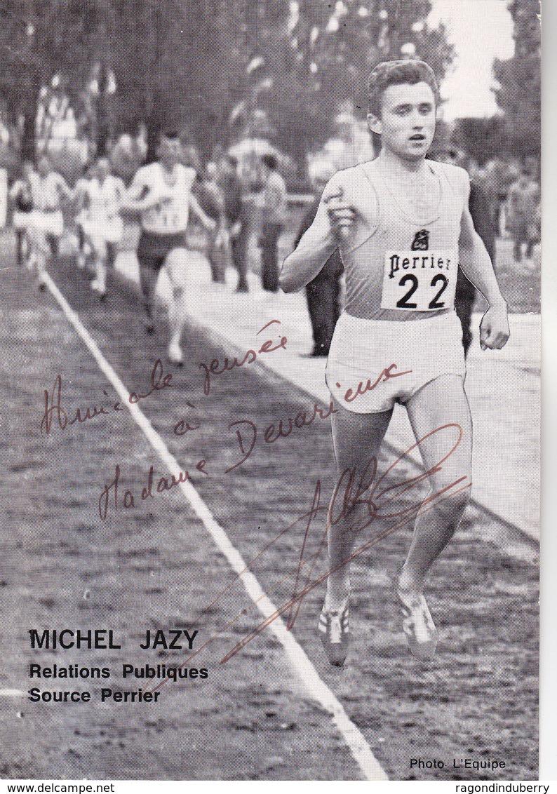 CPA - MICHEL JAZY PUB SOURCE PERRIER - Carte Dédicacée IntituléE MICHEL JAZY Relations Publiques SOURCE PERRIER - Athlétisme