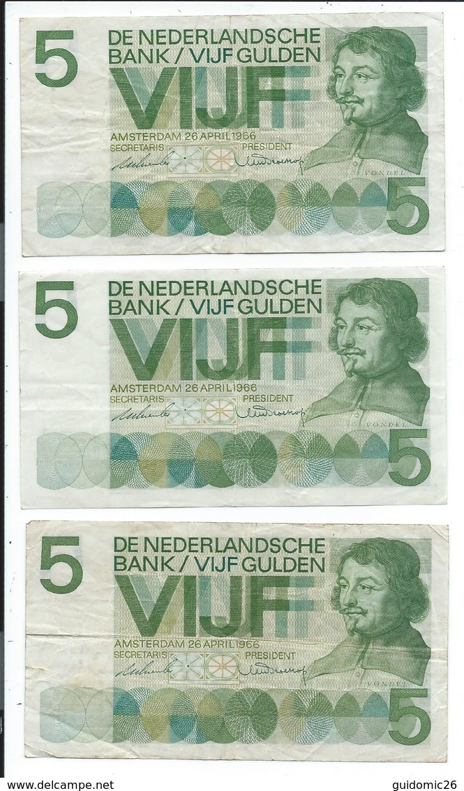 Pays Bas Lot De 3 Billets De 5 Gulden Ayant Circulés - [2] 1815-… : Royaume Des Pays-Bas