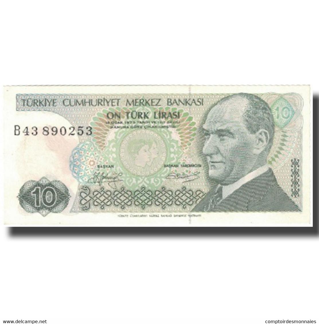 Billet, Turquie, 10 Lira, L.1970, L.1970, KM:192, SPL - Turquie