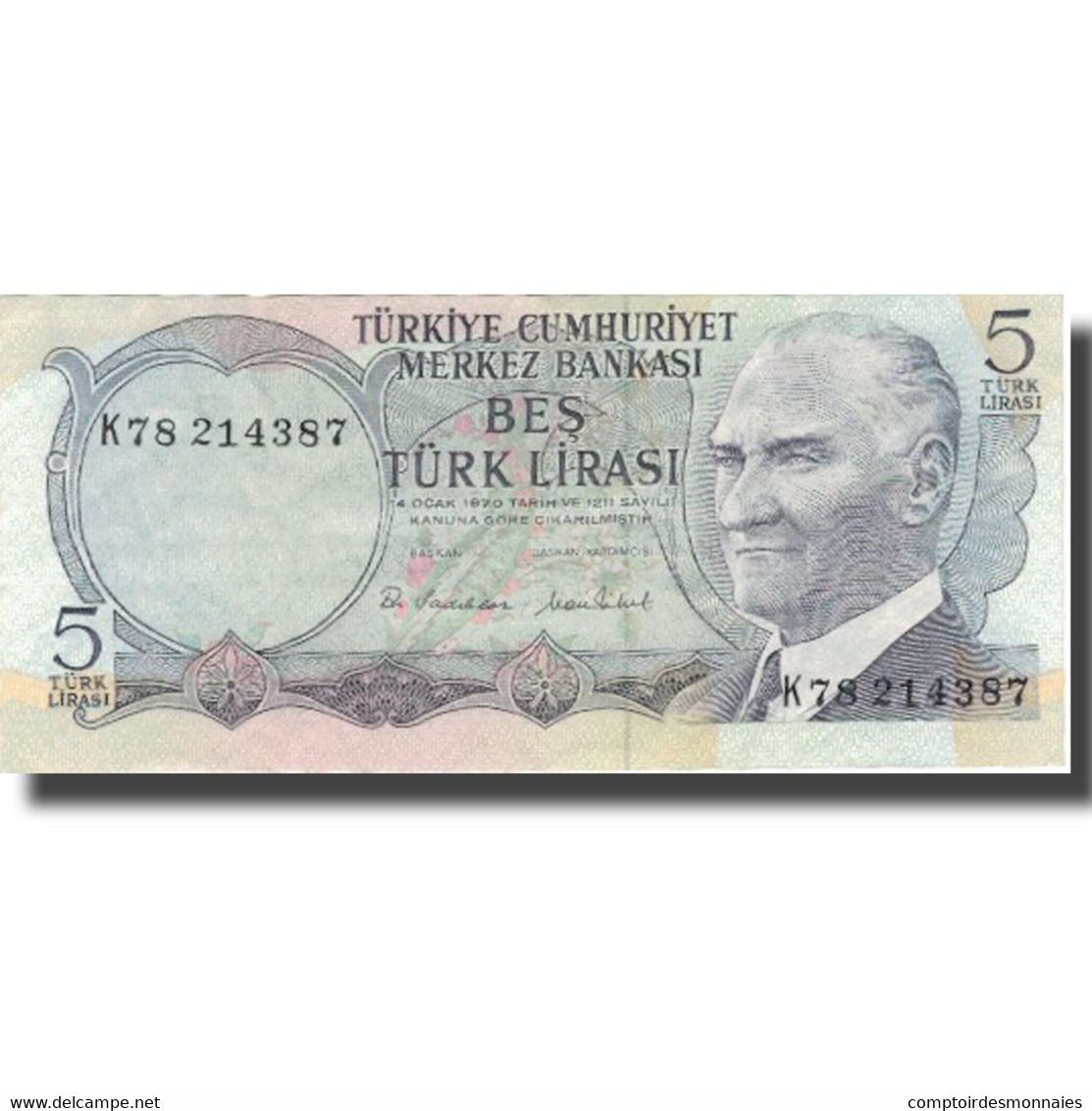 Billet, Turquie, 5 Lira, L.1970, L.1970, KM:185, SUP - Turquie