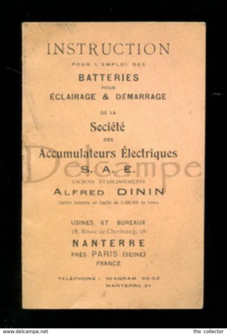 Piece Sur Le Theme De Carnet D Instruction Pour L Emploi Des Batteries Pour L Eclair Et Demar De La Soc Des Accum - Machines