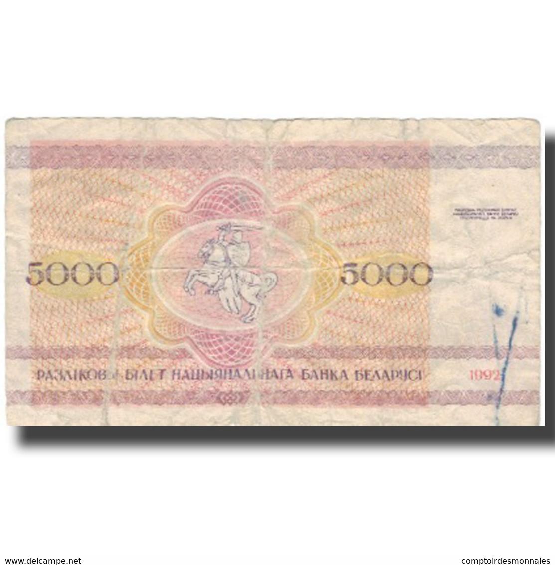 Billet, Bélarus, 5000 Rublei, 1992, 1992, KM:12, TB - Russie