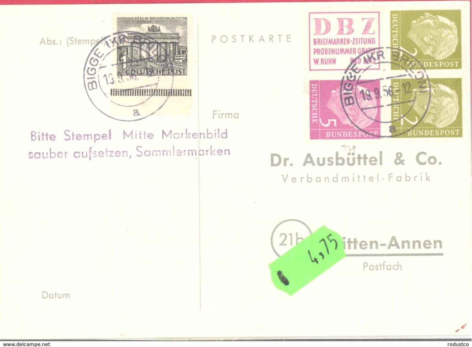 Bund   Michel #  4-er Block R3 + 177 (2 X) + 179 Auf Postkarte - Gebraucht