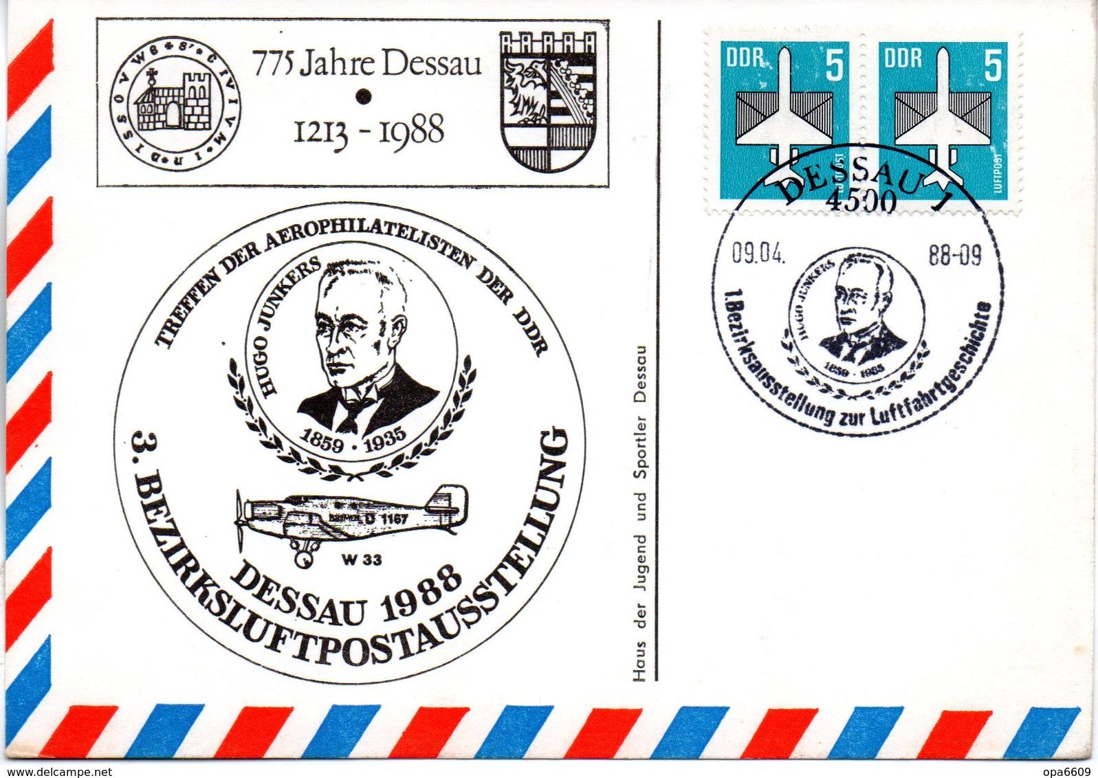"""(DDR-B3) DDR Sonderkarte """"Treffen Der Aerophilatelisten Der DDR DESSAU 1988"""", MeF 2x Mi 2831, SSt. 9.4.1988 DESSAU 1 - DDR"""