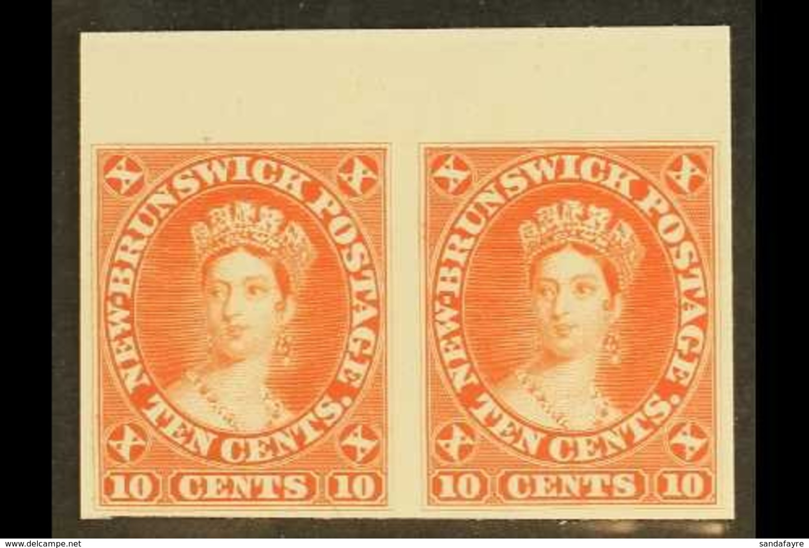 1860-63 10c Vermilion IMPERF PLATE PROOF PAIR On India Paper Mounted On Card. Lovely (pair) For More Images, Please Visi - New Brunswick