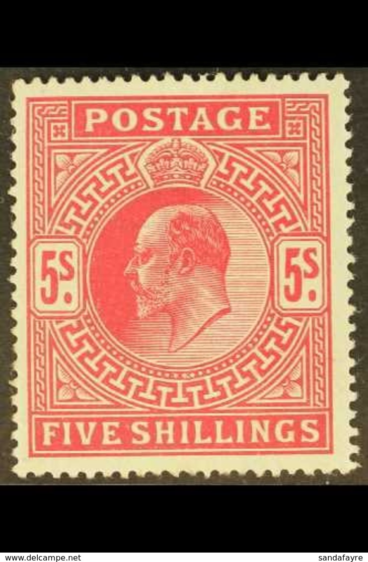1902-10 5s Bright Carmine, SG 263, Very Fine Lightly Hinged Mint, For More Images, Please Visit Http://www.sandafayre.co - 1902-1951 (Kings)