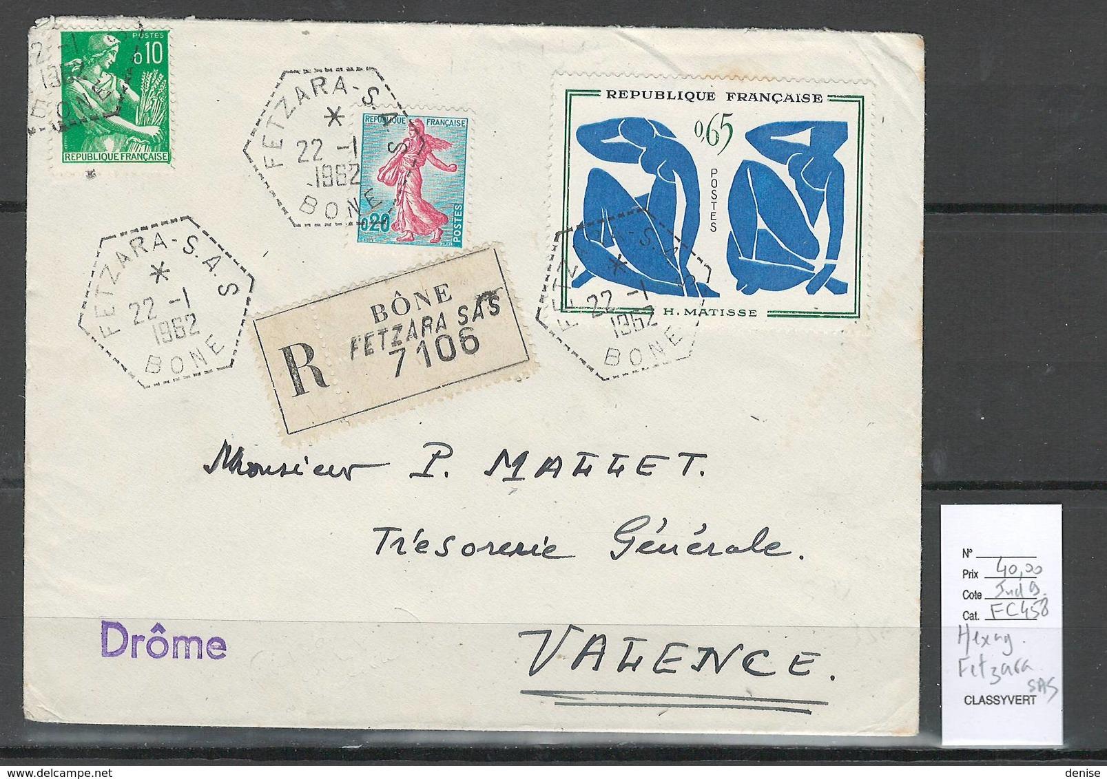 Algerie - Lettre  - Cachet Hexagonal FETZARA - SAS -  Marcophilie - Algeria (1924-1962)