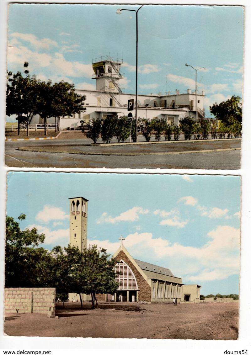 HAUTE VOLTA (Burkina Faso) - OUAGADOUGOU - L'Escale Aérienne Et L'Eglise De Dapoya (2 Cartes) - Burkina Faso