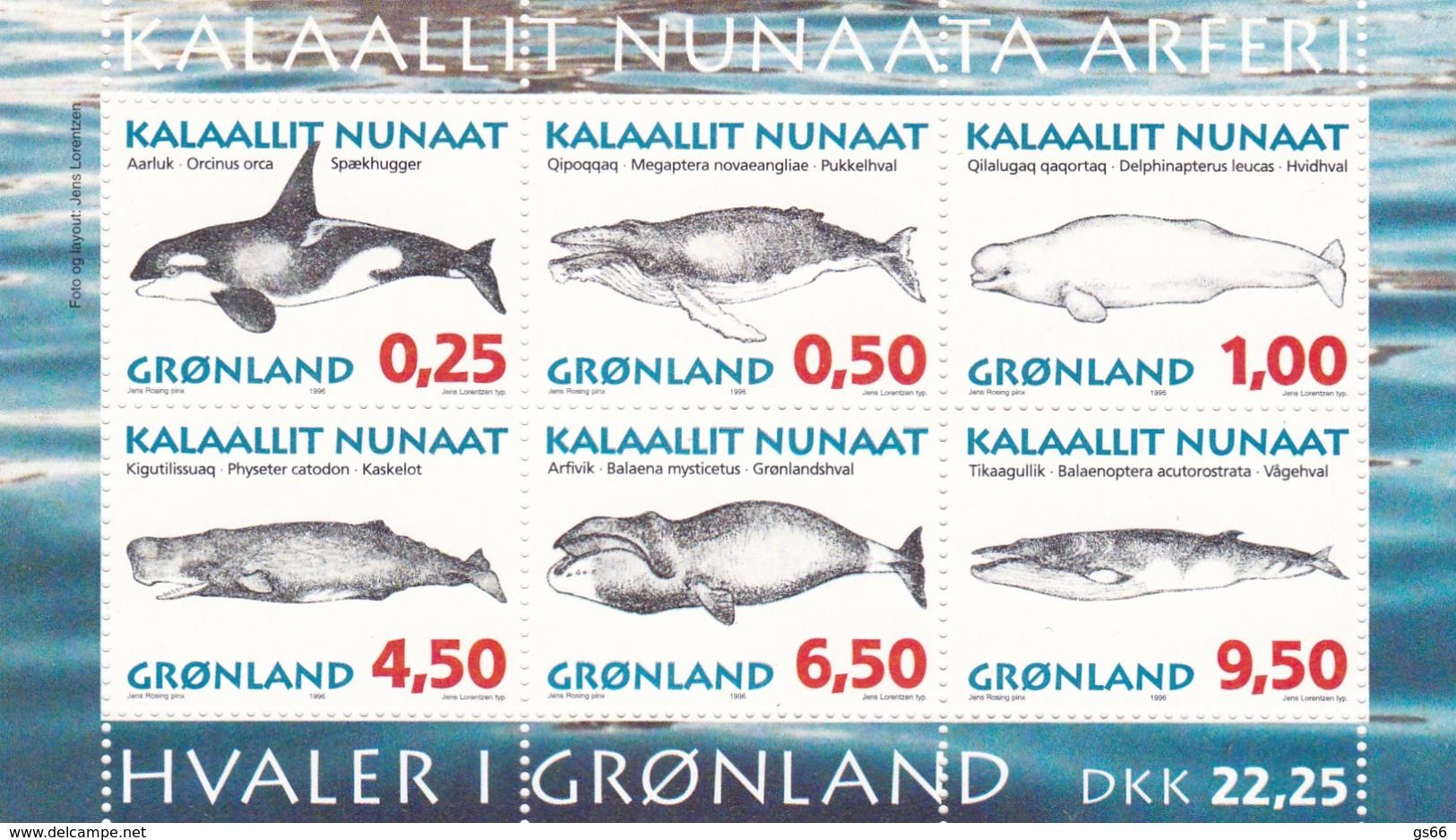 Grönland, 1996,  287/92 Block 10, Grönländische Wale, MNH ** - Blocs