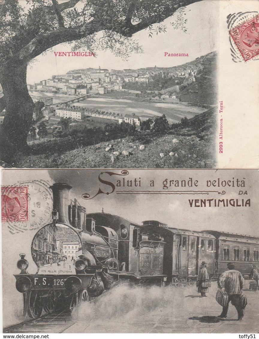 "2 CPA:ITALIE TRAIN ""F.S.126"" SALUTI A GRANDE VELOCITA DA VENTIMIGLIA,PANORAMA..ÉCRITES - Italie"