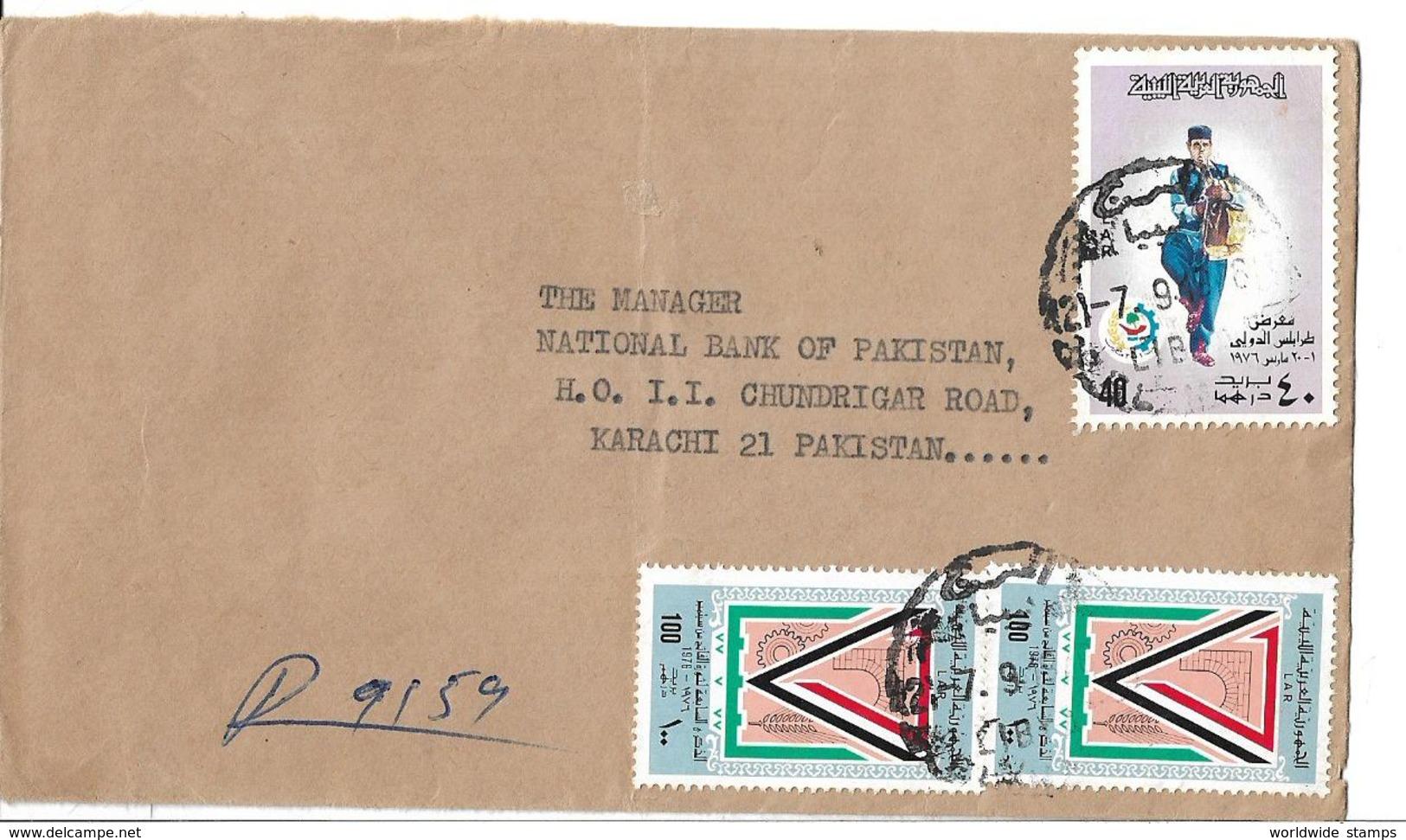 Libya Airmail Cover 1976 Costumes, Tripoli International Fair, 1975 7th Ann Sep. Revolution - Libië